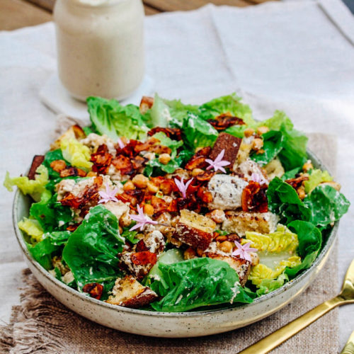 CEASAR SALAD WITH COCONUT BACON AND CHEESY CHICKPEAS